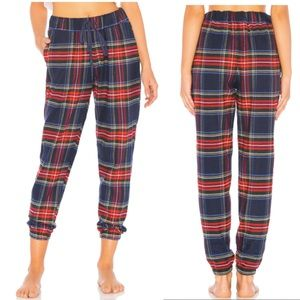 Plush Navy & Red Plaid Ultra Soft Flannel Jogger